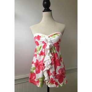 Abercrombie and Fitch Floral Ruffled Tube Top